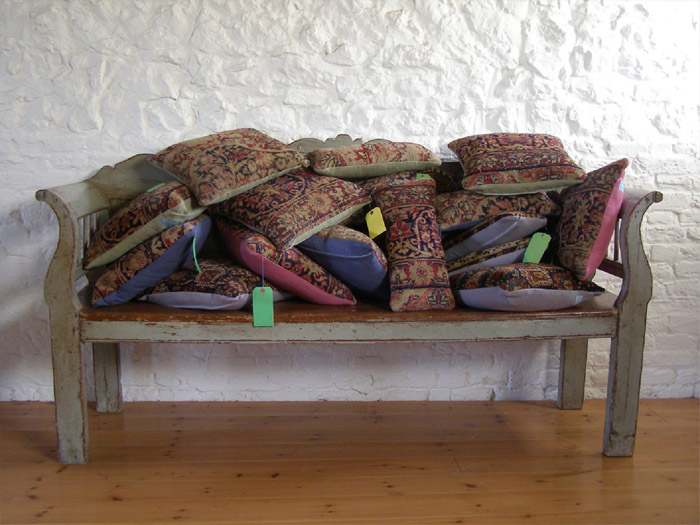 Unique, beautiful antique oriental rugs made into cushions